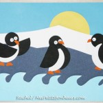 Tableau collage pingouins banquise pole Nord